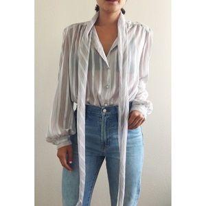 Vintage Sheer Stripe Tie Blouse Grey Sz S